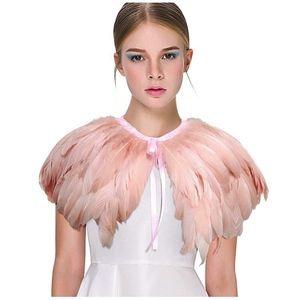 L'vow Fashion Feather Cape Stole peach pink
